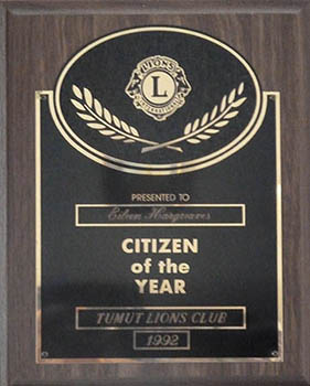 Eileen's 'Citizen of the Year' award, 1992