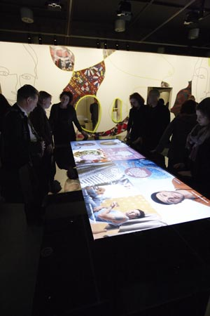 Guests exploring the touch table