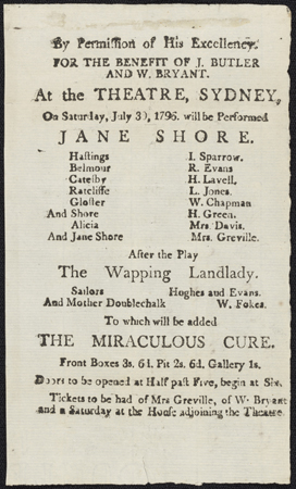 The first? Playbill for a performance at the Theatre, Sydney, Saturday 30 July 1796