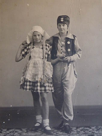 Eileen (right) and her partner, dressed in Dutch national costume, 1934