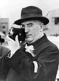 Menzies filming at an RAF Coastal Command station during his 1941 visit to the United Kingdom