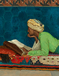 A painting of a man studing a book.